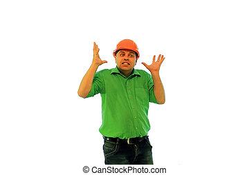 costruzione, caposquadra, à, uomo, in, un, arancia,...