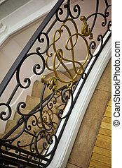 Handrail - Wrought iron handrail in a French mansion