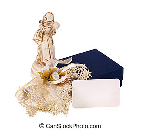 Statue of Romeo and Juliet while kissing on white background