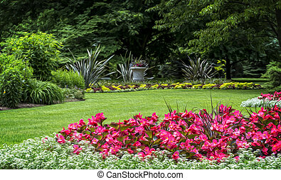 Flower Garden - Beautiful manicured flower garden with...