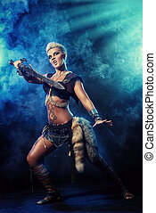 in battle - Portrait of a beautiful female warrior in...