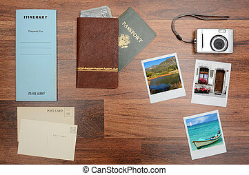 Travel Still Life - High angle shot of a passport, wallet,...