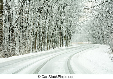Snow Covered Road - A winding snow covered road on a tree...
