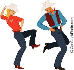 Cowboy dancing - Young couple dressed in traditional Western...