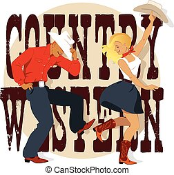 Country Western - Young couple dancing Country Western...
