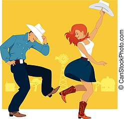Country Western Dance - Cowboy and cowgirl dancing country...