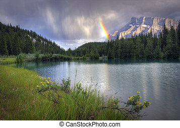 Cascade Ponds Rainbow - A beautiful rainbow over Mount...