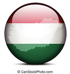 Map on flag button of Hungary