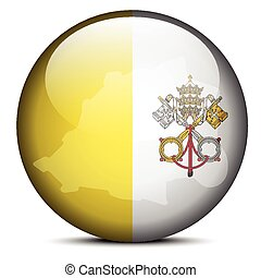 Map on flag button of Vatican City State Holy See - Vector...