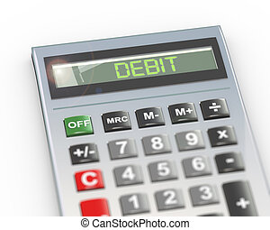 3d calculator word text debt - 3d illustration of calculator...