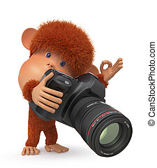 3d monkey photographer - the primacy with the camera is...