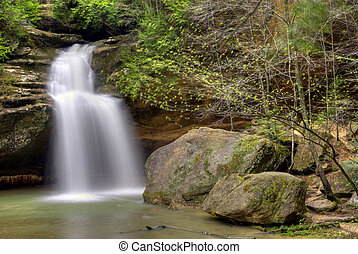 Hocking HIlls Waterfall - Lower Falls at Old Mans Cave in...