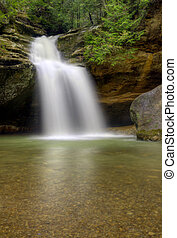 Hocking HIlls Waterfall - Lower Falls at Old Man's Cave in...