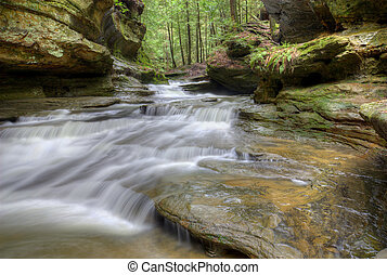 Old Man's Cave Ohio - One of the many waterfalls at Old...