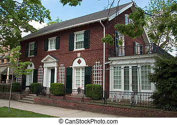 Brick Colonial Home - Red brick Colonial Architecture style...