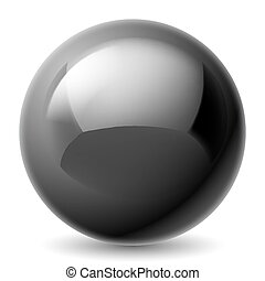 Black metallic ball - Black metallic sphere isolated on...