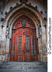 Gothic Door - Ancient cathedral wooden gothic door brown...