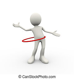 3d man doing hula hoop exercise - 3d illustration of man...