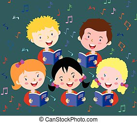 Children choir. Kids choir singing.vector eps 10