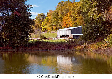 Barn on a pond - An old barn next to a pond with the autumn...