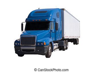 Blue Semi With Trailor - A blue semi truck with a white...