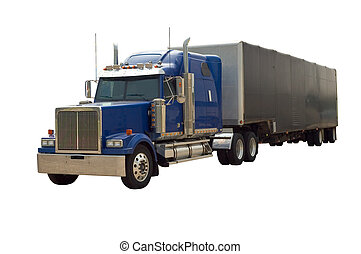 Semi Truck - A blue 18 wheel semi truck with a trailor...