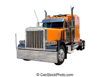 Semi Truck - An orange 18 wheel semi truck isolated on white...