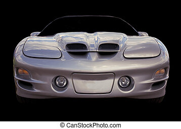 Sportscar isolated over a black background.