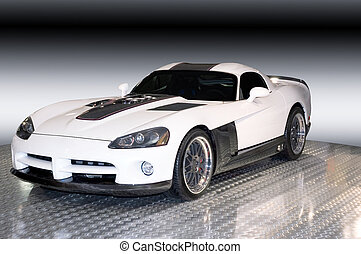 Custom Dodge Viper, 34 View - A custom Dodge Viper isolated...