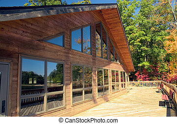 Lodge Windows - Beautiful reflections of the fall colors in...