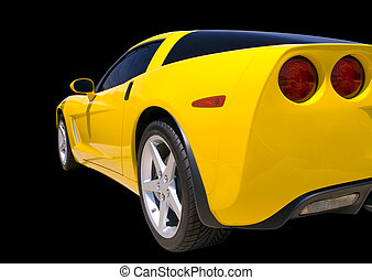 Sports Car - Yellow Corvette sports car isolated on a black...
