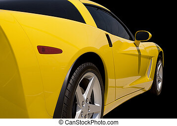 Yellow Sports Car - Yellow Corvette sports car isolated on a...