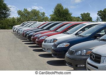 New Car Lot - New fuel efficient SUV's on a car dealers lot...