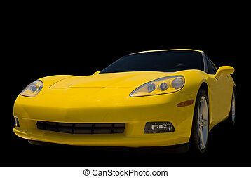 Yellow Sports Car - A Yellow Corvette sports car isolated on...