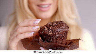 Female Hand Holding a Piece of Chocolate Cupcake - Close up...