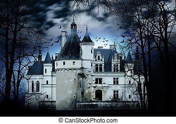 Haunted Castle - Haunted castle with dark scary horror...