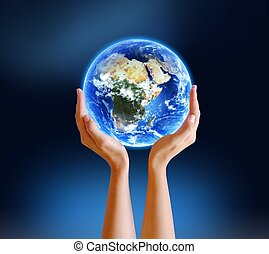 Hands Holding Planet Earth female hands holding planet earth