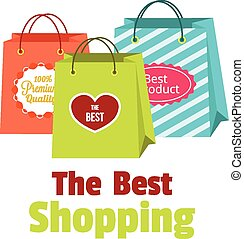 Vector flat shopping paper bags illustration