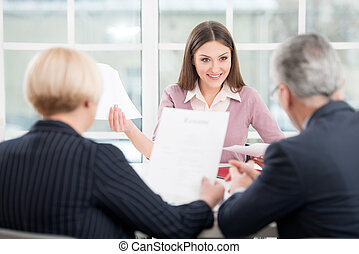 Woman having an interview with employers - Young woman...