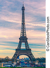 Eiffel tower at winter suset in Paris, France - Eiffel...