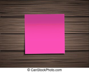 Vector modern square sticky note  on wooden background