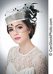 Girl with white cap and veil,studio - Hairstyle and make up...