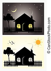 Day & night homes - Cartoon day & night homes