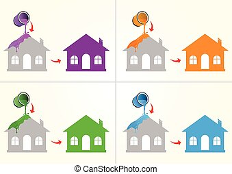House painting with purple, orange, green and blue colors