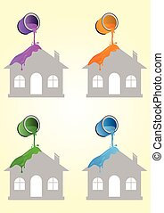 Paint poured on house - Four various color paints falling on...