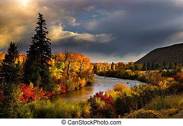 Scenic river in south west Colorado during autumn time