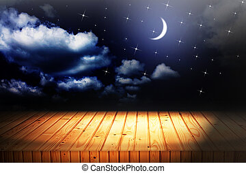 backgrounds night sky with stars and moon and clouds wood