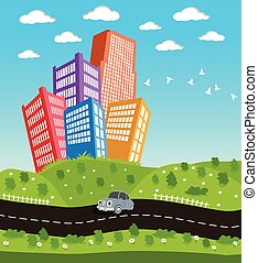 Cartoon downtown road landscape - Illustration of a cartoon...