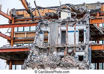 demolition of an office building - one older office...