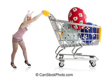 Easter bunny with colorful eggs in her shopping cart -...